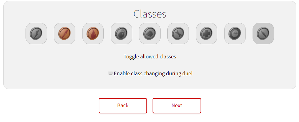 Custom lobbies Classes